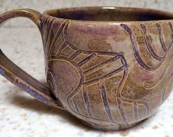 Handmade, hand carved pottery mug, ceramic coffee mug or tea mug in purple and olive/brown
