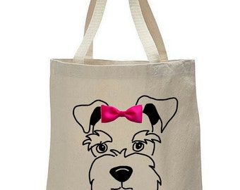 Dogs & Bow Ties: Schnauzer Canvas Tote Bag