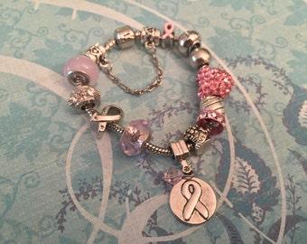 Breast Cancer Awarness Charm Bracelet