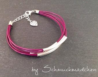 Leather Bracelet silver Bordeaux