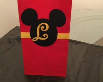 Personalized  Mickey Mouse inspired favor /Goodie bags. Set of 12, Mickey Mouse goody bags