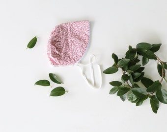 Toddler Bonnet in Red and White Floral