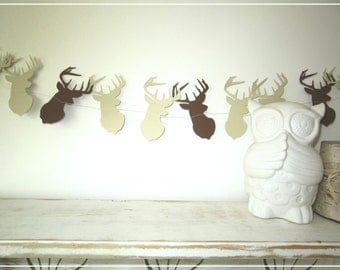 Buck Head Paper Garland - Paper Garland, Party Decor, Wedding Decor, Bridal Shower Decor, Baby Shower, Photo Prop, Home Decor