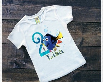 Dory Birthday Tee Shirt or Onesie; Personalized Dory Birthday Custom 1st, 2nd and Up;FREE Personalization;Tee size 2T and Up;Onesie 6-24 Mth
