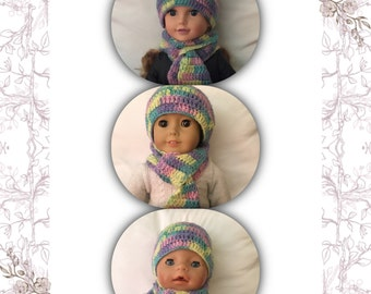 Hat and Scarf for 18inch, Journey Girl and Baby Born