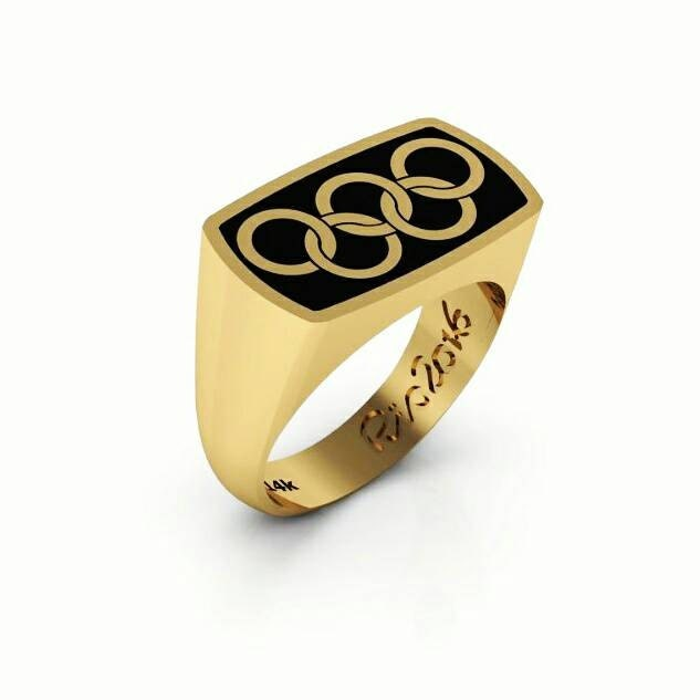 Olympic Rings Signet Ring 14k Yellow Gold Paralympics Ring