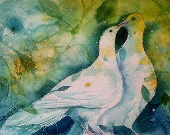 An original watercolour painting by Shari Hills. Love Doves.
