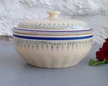 Vintage French serving bowl and lid, vegetable dish, Hamage Moulin des Loups.