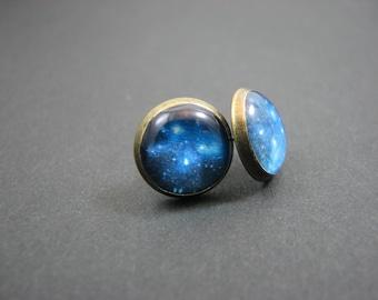 Blue galaxy earrings - Tiny earring studs – Nebula studs - Universe earrings - Blue nebula studs - Space jewelry (SE011)