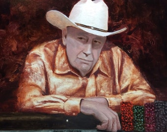 Doyle Brunson Original Poker Oil Painting by Grey 16x20