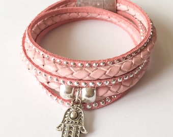 Wrap Bracelet by imi leather and suede color salmon pink