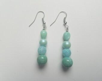 Turquoise Acrylic Beaded Earrings