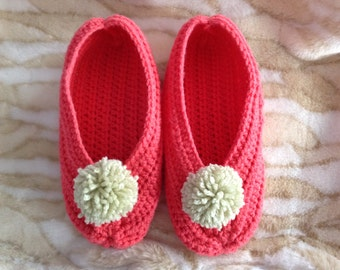 Light Coral Women's Crochet Slippers with Pompom