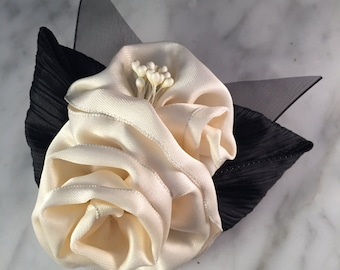Cream and Black Ribbon Rose Corsage or Hair Accessory