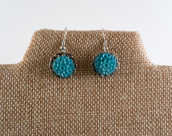 Aqua Blue and Silver Bloom Earrings