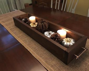 Centerpiece box with handles//mantel box//wedding centerpiece box//wood box
