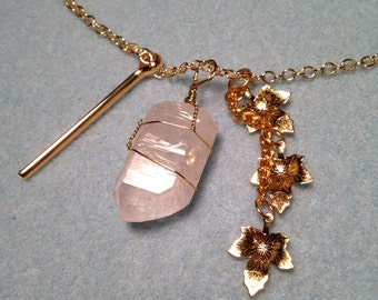 30in Gold Plated Clear Quartz Drop Necklace w/Charms