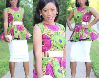African Peplum Top, Ankara Peplum Blouse, African Print Top, African Print Peplum Top