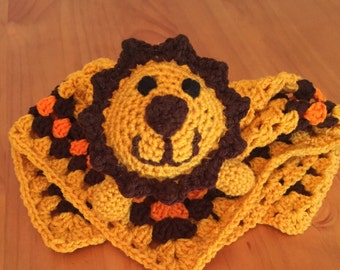 Crochet lion lovey, lion security blanket, baby shower gift
