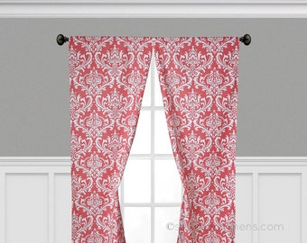 Coral Curtain Panels Window Treatments Drapery Floral Drapes Home Decor Coral Nursery Decor Living Room Pair