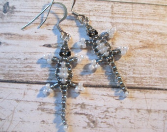 Silver-Grey and White Tiny Beaded Lizard Earrings