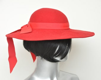 Women's Vintage Red Wide Brim Hat by Bollman 100% Wool Peachfelt Hat