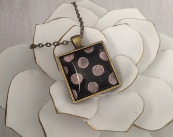 Polka Dot Pendant Necklace // Handmade Necklace// Antique Brass + Polka Dots