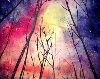 starry night- original watercolor painting 21*29.7CM