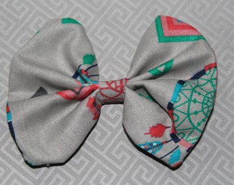 Grey Multicolor Dreamcatcher Printed Bow Tie Hair Bow