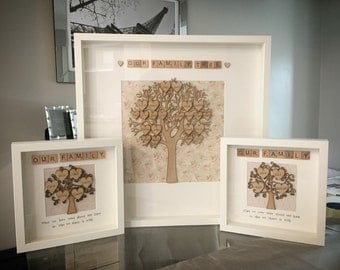 FAMILY TREE FRAMES - personalised handmade scrabble frames for all occasions - Perfect Valentines or Birthday Gift
