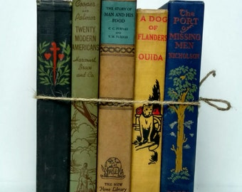 Navy Mustard Beige Green Decorative Books, Antique Book Decor, Wedding, Book Set, Instant Library, Old Book Collection, Book Stack