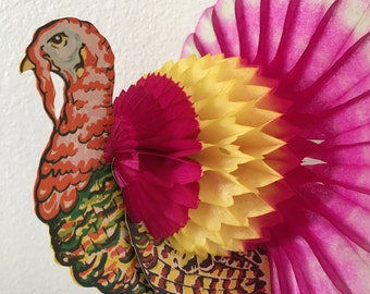 Honeycomb Paper Turkeys Autumn Holiday Decor Set Of 5