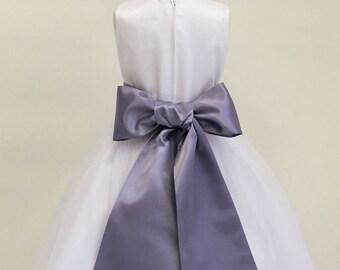 Buy 1 Get 1 Free Designer US Angels- AUBERGINE Satin Tapered Flower Girl Dress Sash