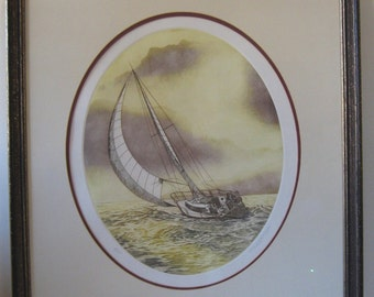 Vintage PAUL GEYGAN Sailboat LITHOGRAPH #54 Matted and Framed