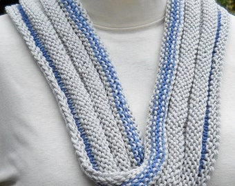 hand knit math teaching scarf in pale grey and blue cotton