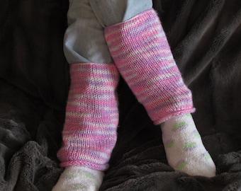 Knit Pink, Purple, & White Womens' Leg Warmers