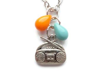Boombox Necklace. Glass Bead, Czech Bead, Radio Jewelry Boombox jewelry BN106