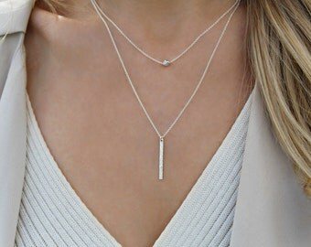 Silver necklace Set / 925 Sterling silver Bar necklace / Two necklace set / Layering necklace / Delicate necklace / Silver Bead necklace