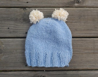 Hand Knit Baby Blue Bear Hat