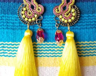Tassel Earrings - Statement Earrings - Long Earrings - Pendant Earrings - Neon Hot Pink - Gold - Yellow -