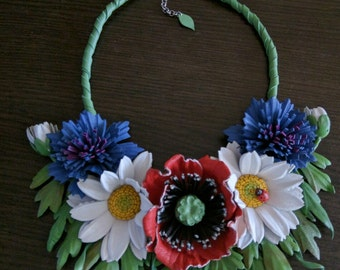 """Flower necklace leather """" Wildflowers """""""