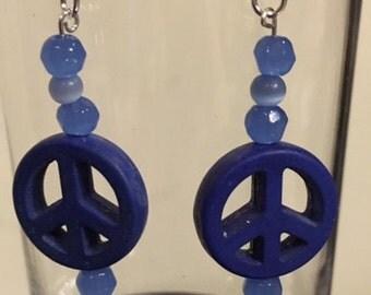 Sterling Silver Howlite Peace Symbol Earrings