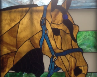 Buckskin horse stained glass panel