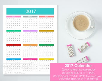 "Printable 2017 Calendar at a glance. US Letter Size, 8.5""x11"", 8""x10"" and 11""x14"" JPEG. Quick reference wall calendar. Instant download."