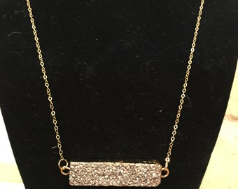 Necklace of Grey Druzy and Gold Chain