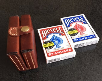 Leather Playing Cards Travel Case/Leather Deck Box/Leather Card Holder/Leather Card Case