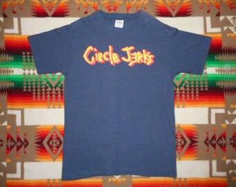 vintage 90s Circle Jerks Shirt Sz L Deadstock minor threat misfits black flag