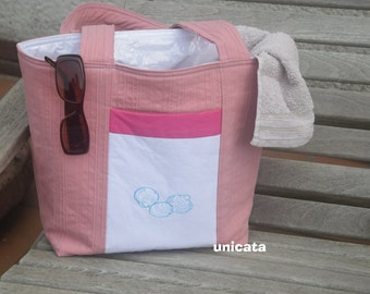Beach bag wet auswischbar in pink and white with embroidery (Bivalvia) on the front pocket