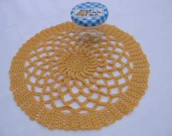 Round cover, decorative cover, crochet cover in yellow
