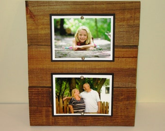 double wood picture frame 5x7 picture frame rustic picture frame double 5x7 wood frame rustic wall decor rustic wood frame